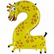 Шар (40''/102 см) Цифра, 2 Жираф, в упаковке, 1 шт.  16481